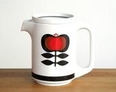 Rare Krömer Zolnir tea pot porcelain mid century modern vintage pitcher coffee pot seventies modernist black red