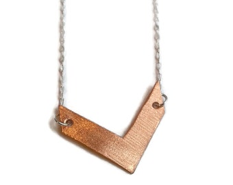 Chevron Necklace Copper and Sterling Silver