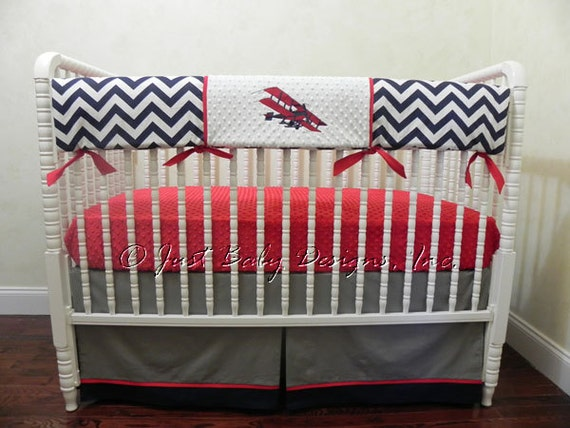Bumperless baby boy crib bedding set airplane crib - Airplane baby bedding sets ...