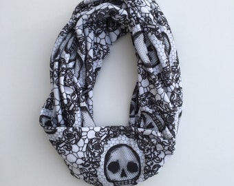 Skull lace infinity scarf