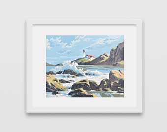 Vintage Paint by Number, lighthouse, Ocean, stormy ocean, Print Your Own, Instant Art, Digital Download,