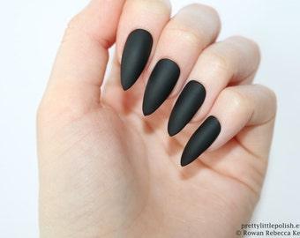 Stiletto nails, Matte black stiletto nails, Fake nails, Press on nails, False nails, Stiletto false nails, Press on stiletto nails