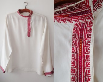 Vintage Embroidery shirt ,Red Embroidery,hand made Embroidery,Balkan Folk blouse, red embroidered blouse ,Free shipping