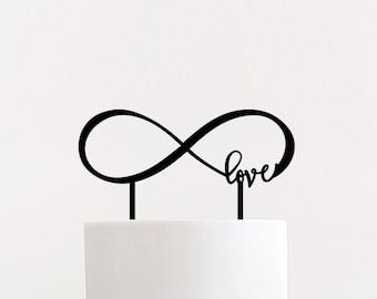 Infinite Love Wedding Cake Topper   Infinity Laser Cut Cake Topper   wood wedding cake topper