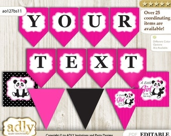 Girl Panda Personalized  Banner Printable Card for Baby Panda Shower DIY – Polka -ao127bs11