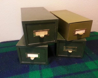 4 Vintage 1940's Green Industrial Machinest Metal Drawers / Bins