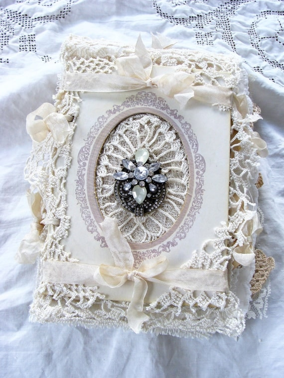 Romantic Book for Any Occastion Vintage Wedding Memory Book Bride journal Baby Album Guestbook Prayer Journal Keepsake journal Shabby Soft