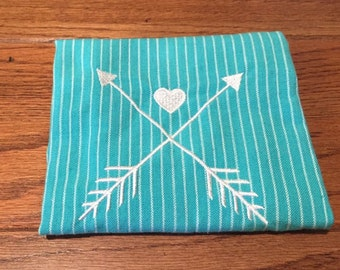 Turquoise Embroidered Arrows Hand Towel