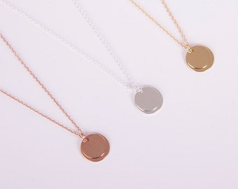 Silver Gold Or Rose Gold Necklace Disc Coin Rose Silver Or Gold Plated Necklace Choose your Colour