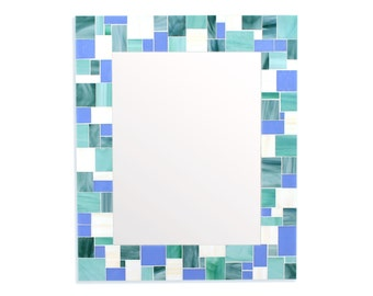 Mosaic Tile Mirror for Blue Home Décor Scheme – 4 Rectangle Mirror Sizes Available