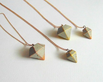 Concrete Geometric Necklace, Concrete Jewelry, Industrial Necklace