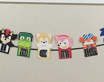 Sonic party, sonic party decorations, sonic banner, sonic birthday decorations