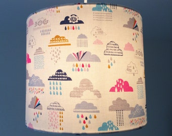 Multi Coloured Clouds Fabric Lampshade - Last One!