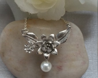 Cherry Blossom Necklace, Sterling Silver, Jewelry