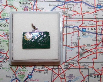 Vintage  Kansas Sterling Silver  and Enamel  Wells State Charm -- Topeka, Kansas City and Wichita--SUNFLOWER STATE