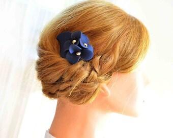 Navy blue hair clip Hair flower Bridesmaid hair flower Navy blue Wedding hair accessory Wedding hair piece Mini fascinator