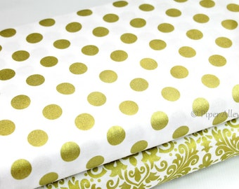 Cotton Fabric, Gold Metallic Polka Dot On White, Riley Blake ~ By The Half Yard
