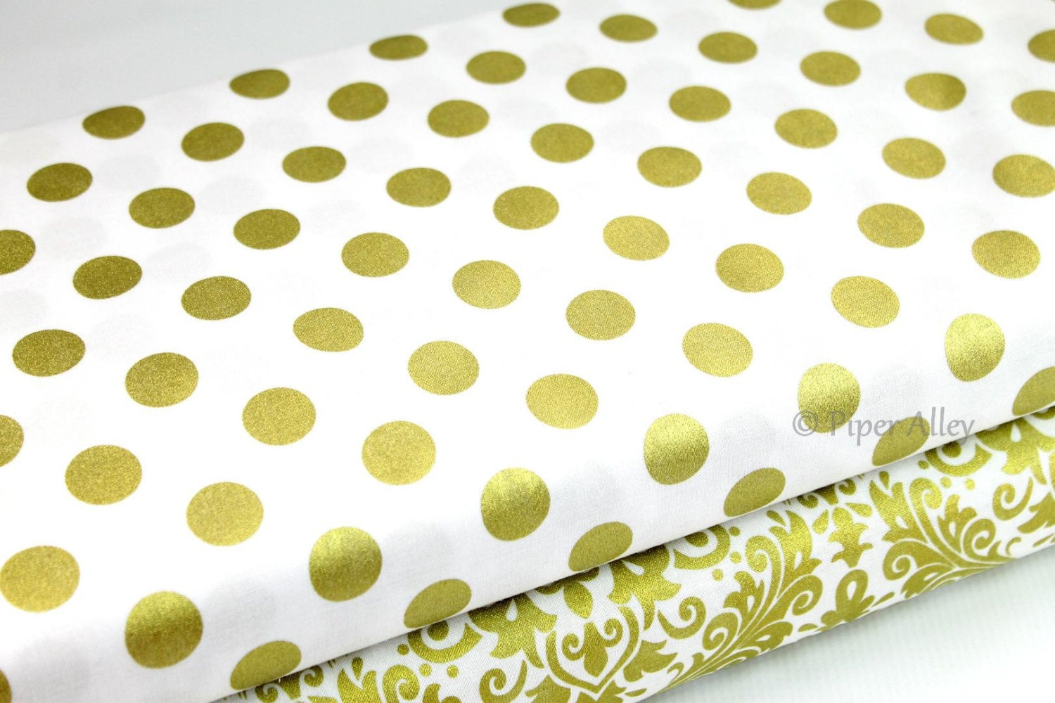 cotton fabric gold metallic polka dot on white riley blake