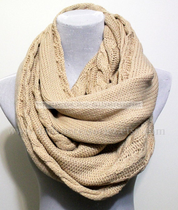 Beige Cable Knit Infinity Scarf Chunky Knitted Scarf
