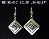 Stelrling Silver 925 Ancient Greek Eternity Key Hammered Dangle Square Earrings