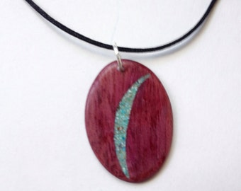 Purple Heart Pendant With Turquoise Inlay