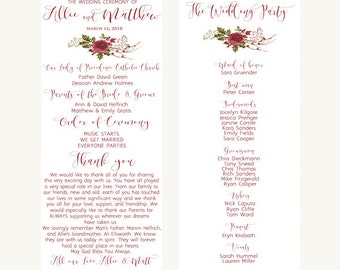 Printable wedding program, Wedding program, Red wedding program, Calligraphy wedding program, Boho wedding program, Floral wedding program