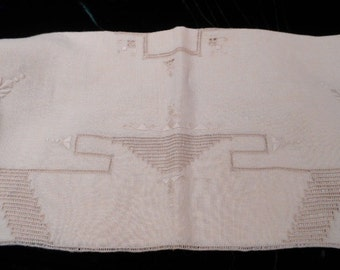 Arts And Crafts Vintage Italian Natural Linen Cut And Draw Work W/ Satin  Stitch Embroidery