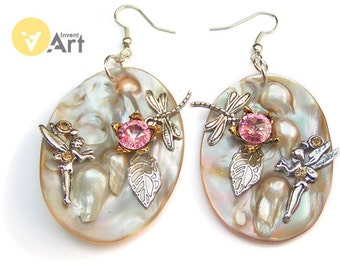 Duma Key - steampunk earrings with shells with mother-of-pearl and Swarovski crystals by metalwork  technique