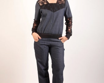 Combination Syklo in blue jeans and Black Lace
