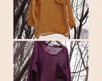 Woman linen 2 pockets top white/yellow/green/purple