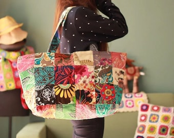 Sale- Woman big vintage style Patchwork bag shoulder bag
