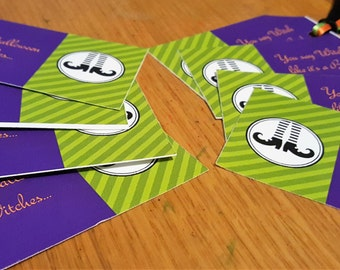 WITCHES Gift Tags - Set of 8 with Matching Ribbons - Halloween