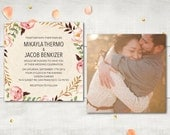Photo Wedding Invitation and RSVP - Simone Sweet Boho Watercolor Flowers Personalized Suite