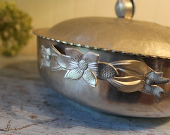Vintage Ribbons and Tullip Hand Wrought Aluminum Covered Serving Dish