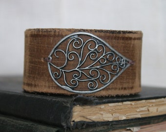 Handmade Brown Leather Cuff Bracelet with Silver Metal Leaf