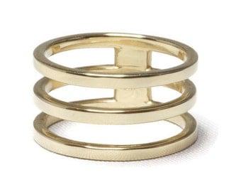 14K Solid Gold Triple Band Ring / Yellow, Rose, White / Stacked, Three, 3, Minimalist, Modern, Stacking, Layered, Row, Minimal, Avery Blake