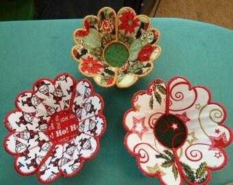 Mini-Decorative Holiday Fabric Bowls