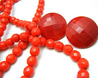 "Vintage Flapper Necklace 43"" Red Faceted Glass Beads Matching Earrings Set"