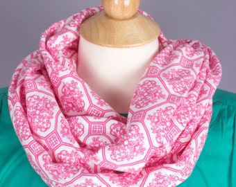 Infinity scarf, filigree, blue, pink, delicate, medium weight, fall, winter, spring, jersey, knit, machine washable