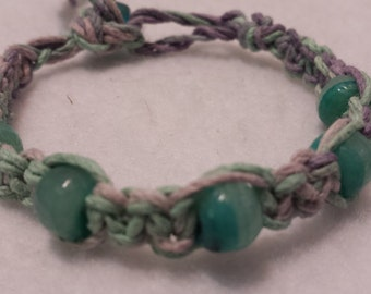 Vintage Glass Bead Hemp Bracelet