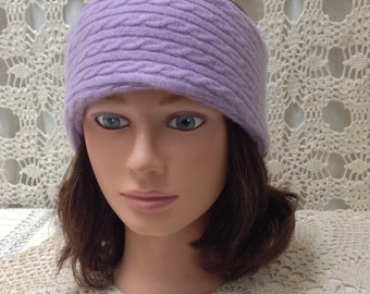 Great Valentine gift! Cable Knit headband-upcycled-recycled light purple cashmere headband-made from sweaters