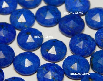 15 Pieces Wholesale Lot Natural Lapis Lazuli Round Shape Rose Cut Gemstone For Jewelry