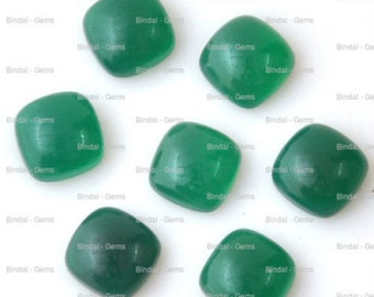 10 Pieces Wholesale Lot Wonderful Green Onyx Cushion Shape Cabochon Gemstone For Jewelery