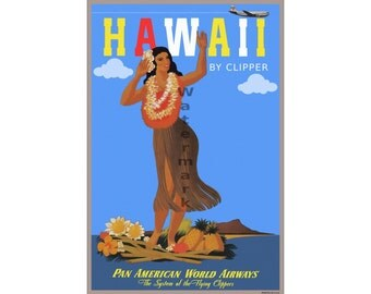 Hawaii - Vintage Airline Travel Poster