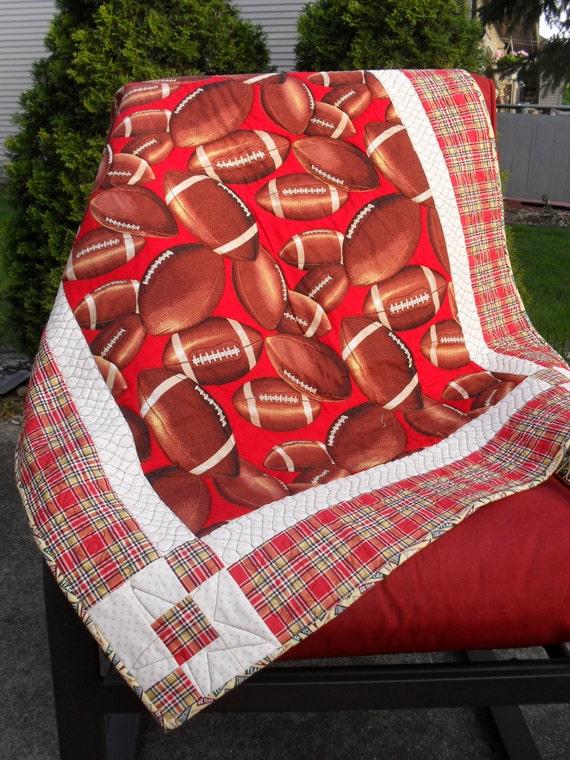 Little boy baby quilt handmade quilt for sale football