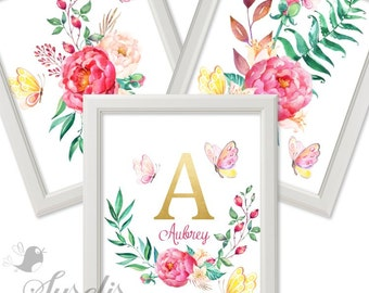 Set of 3 Monogram Name Watercolor Flowers Gold foil Letter Print Watercolor Peony Butterflies Printable, 8x10, Instant Download JPG & PDF
