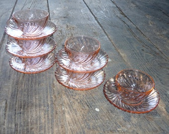 six French Arcoroc rosaline pink coffee/tea cups and saucers