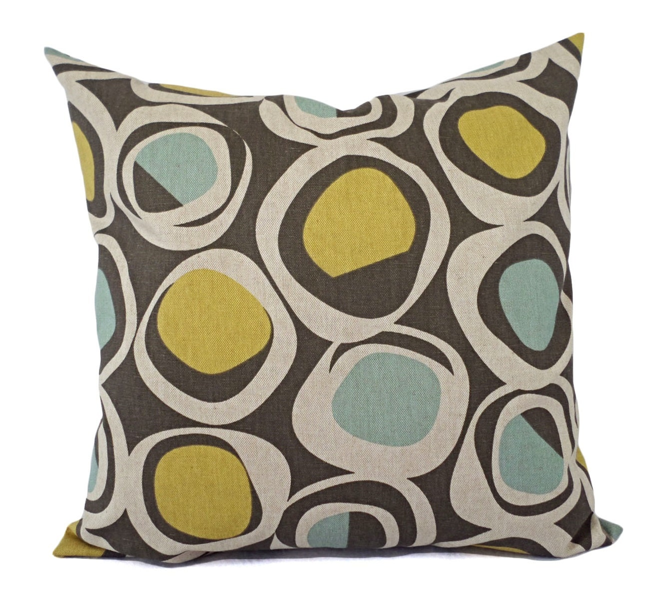 Yellow Brown Throw Pillows : Brown Yellow and Blue Decorative Pillow Covers Two Geometric