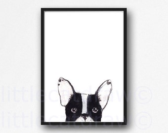 Black and White Peeking French Bulldog Print Illustration Watercolor Painting Art Print Frenchie Wall Art Frenchie Dog Print