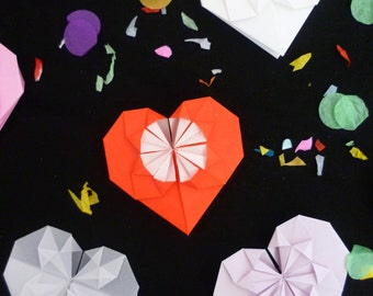 Origami heart wedding favours, place settings - wedding favors, personalised placecards, paper decorations